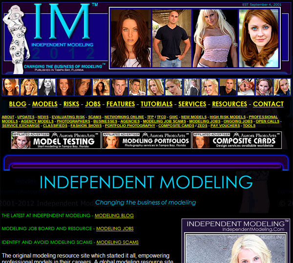 Independent Modeling web site screen grab 10/28/12, just before the new site came online.